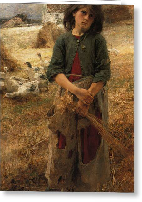 Old Masters Greeting Cards - Goose Girl Of Mezy Greeting Card by Leon Augustin Lhermitte