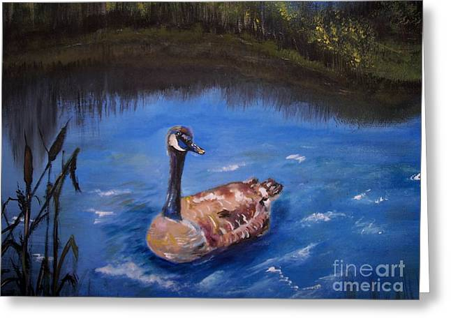 Water Fowl Greeting Cards - Goose Greeting Card by Leslie Allen