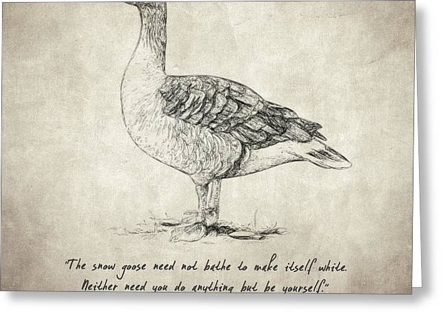 Geese Drawings Greeting Cards - Goose Quote by Lao Tzu Greeting Card by Taylan Soyturk