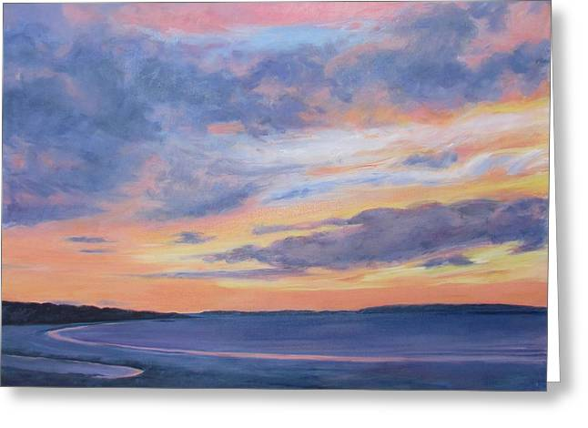 Maine Beach Greeting Cards - Goose Rocks Beach Morning Greeting Card by Lynne Schulte