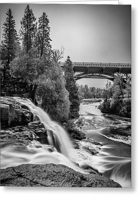 Work Area Greeting Cards - Gooseberry Falls bridge in Black and white Greeting Card by Paul Freidlund