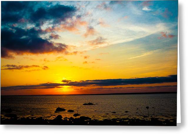 New England Ocean Greeting Cards - Gooseberry Island At Sunset  Greeting Card by Troy DeTerra