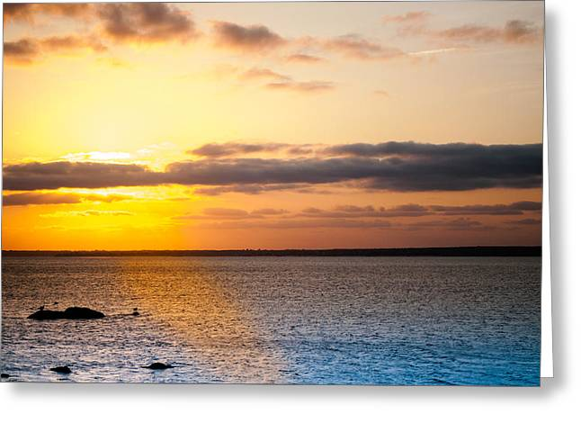 New England Ocean Greeting Cards - Gooseberry Island Sunset 2 Greeting Card by Troy DeTerra