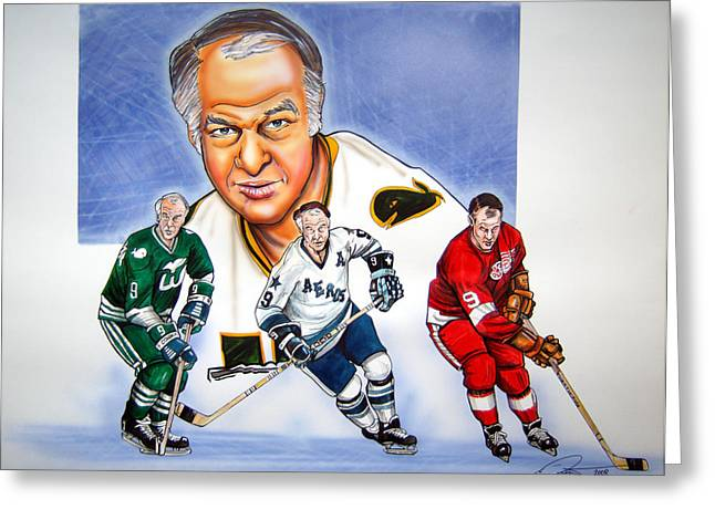 Gordie Howe Greeting Card by Dave Olsen