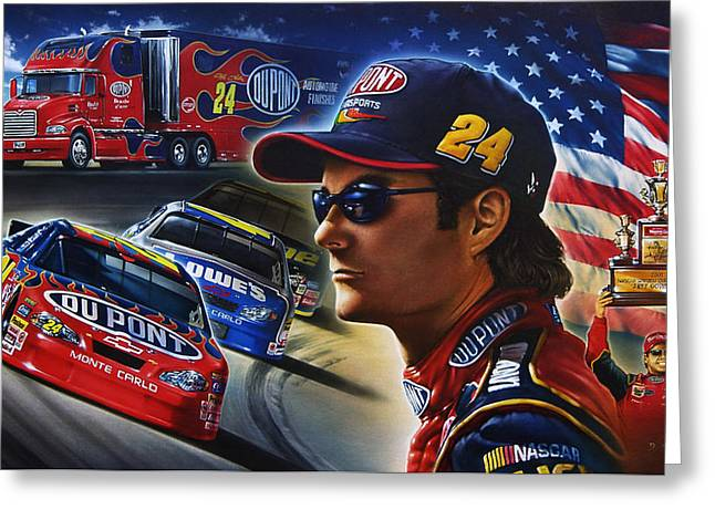 Jeff Gordon Greeting Cards - Gordon Greeting Card by Dan Hatala