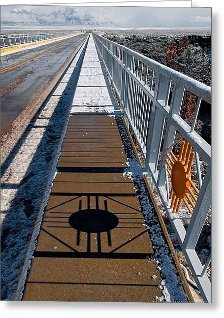 Gorge Bridge Zia Symbol Greeting Card by Britt Runyon