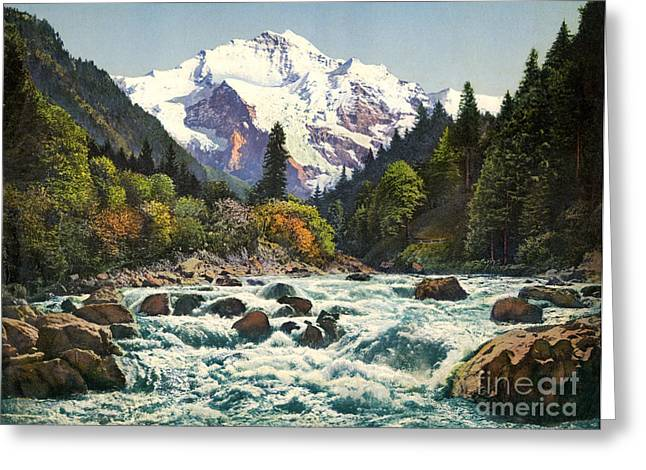 White River Drawings Greeting Cards - Gorge of the Lutschine River Interlaken Greeting Card by Celestial Images