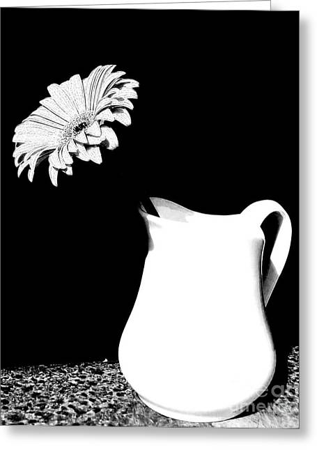 Pouring Digital Art Greeting Cards - Gorgeous Gabbi In Black And White Greeting Card by Marsha Heiken