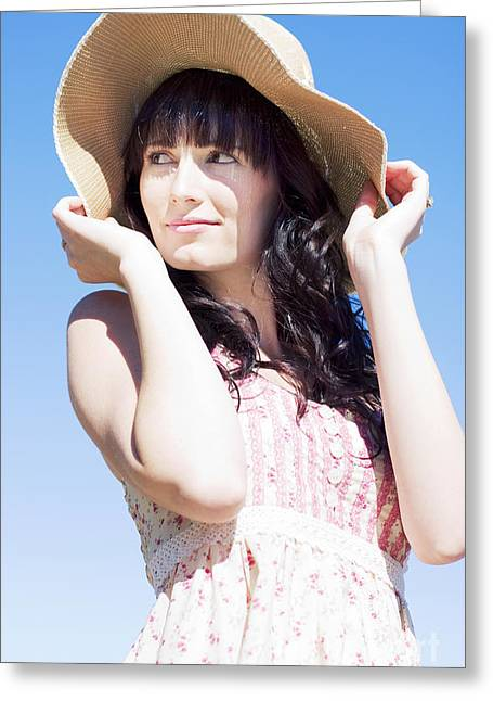 Youthful Greeting Cards - Gorgeous Woman In Hat Greeting Card by Ryan Jorgensen