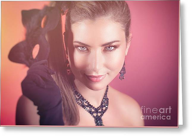 Gorgeous Woman With Cat Mask Greeting Card by Anna Omelchenko