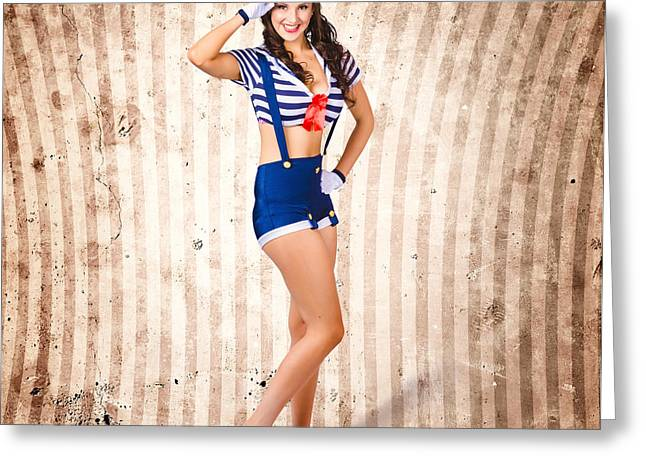 Full-length Portrait Greeting Cards - Gorgeous young retro pinup sailor girl Greeting Card by Ryan Jorgensen