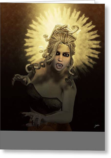Medusa Mixed Media Greeting Cards - Gorgon Medusa Greeting Card by Joaquin Abella