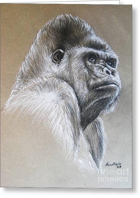 Africa Pastels Greeting Cards - Gorilla Greeting Card by Anastasis  Anastasi