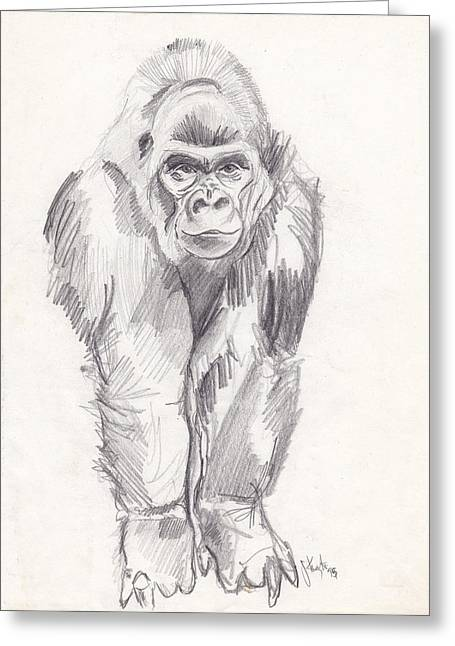 Gorilla Drawings Greeting Cards - Gorilla Greeting Card by John Keaton