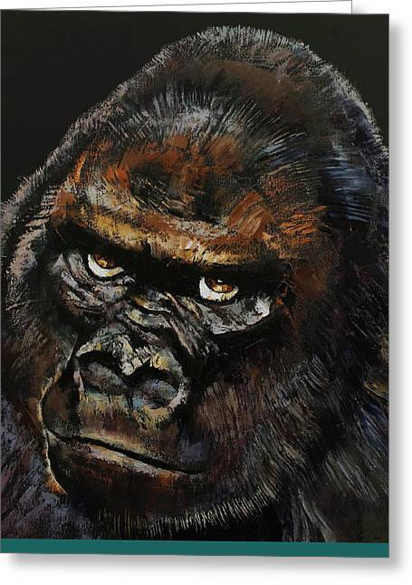 Gorilla Skull Greeting Card by Michael Creese