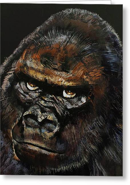 Dark Art Greeting Cards - Gorilla Greeting Card by Michael Creese