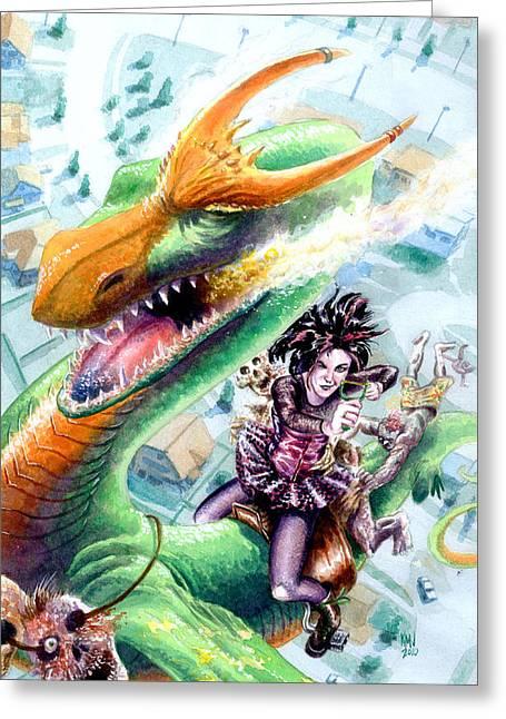 Goth Girl Greeting Cards - Goth Dragon Greeting Card by Ken Meyer jr