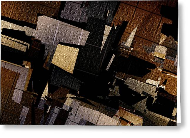 Gotham City Greeting Cards - Gotham - Abstract Art Greeting Card by Vic Eberly