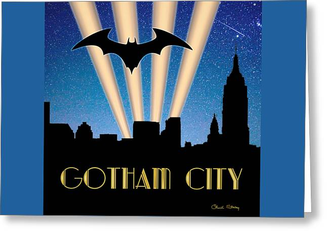 Gotham City Greeting Card by Chuck Staley