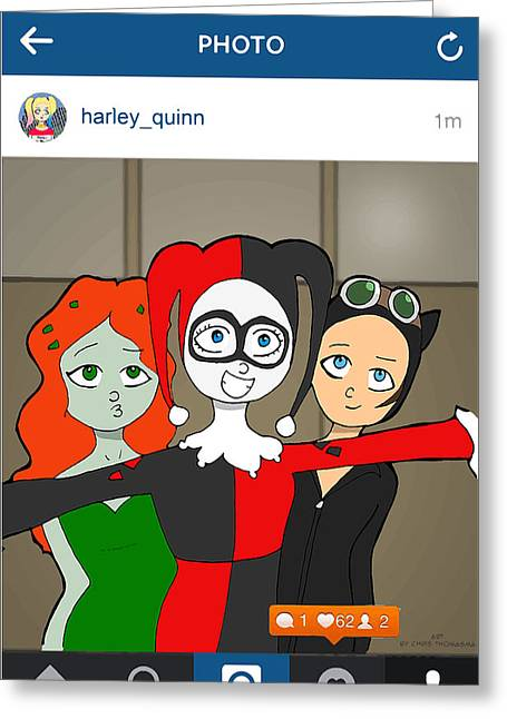 Cartoonist Greeting Cards - Gotham City Sirens group selfie Greeting Card by Chris Thomasma