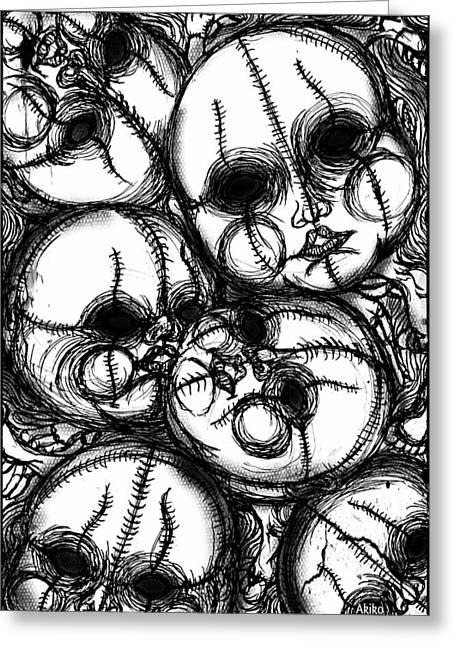 Analog Drawings Greeting Cards - Gothic Faces Greeting Card by Akiko Kobayashi