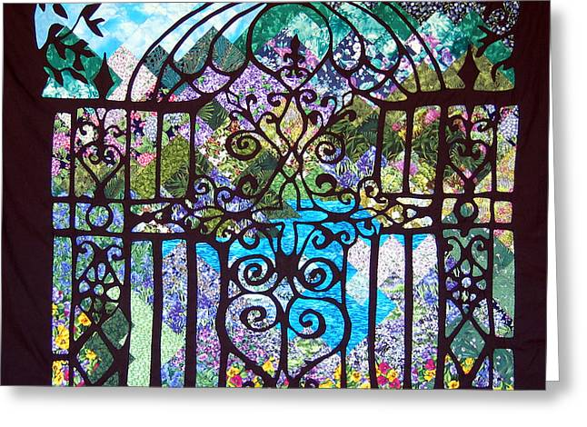 Hand Quilted Tapestries - Textiles Greeting Cards - Gothic Gate to the Garden  Greeting Card by Sarah Hornsby
