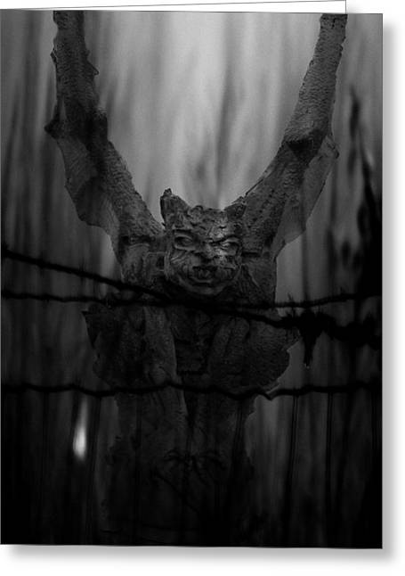 Gothic Guardian Bw Greeting Card by Lesa Fine