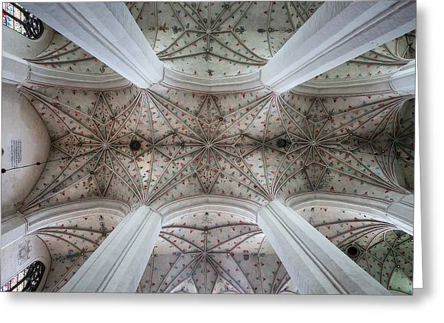 Gothic Ribbed Vault Of Torun Cathedral Greeting Card by Artur Bogacki