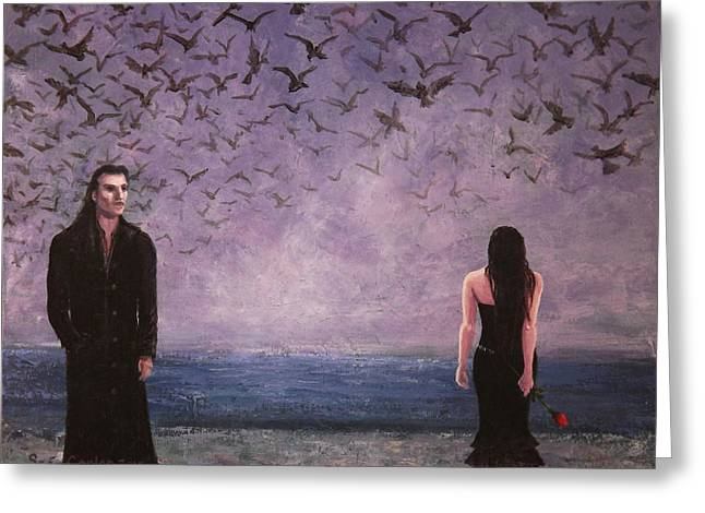 Sea Birds Greeting Cards - Gothic Romance two Alone Finally Greeting Card by Sean Conlon