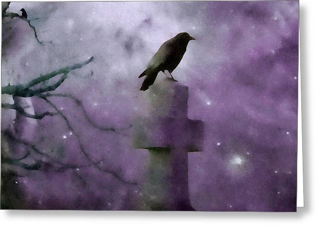 Gothic Crows Greeting Cards - Gothic Stars  Greeting Card by Gothicolors Donna Snyder