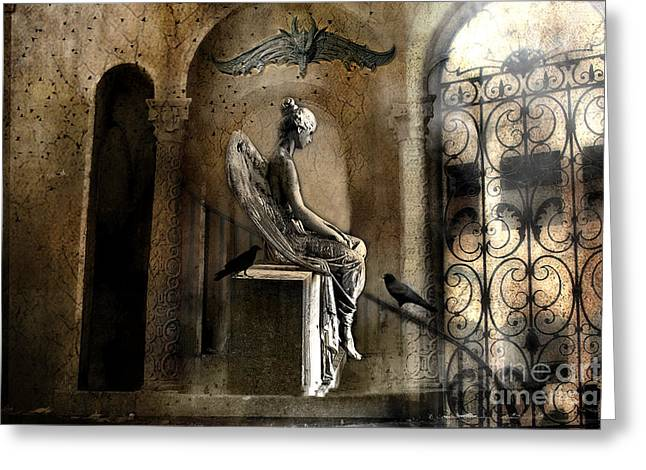 Surreal Angel Art Greeting Cards - Gothic Surreal Angel With Gargoyles and Ravens  Greeting Card by Kathy Fornal