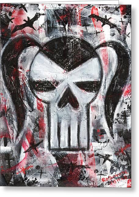 Gothic Vamp Skull Greeting Card by Roseanne Jones