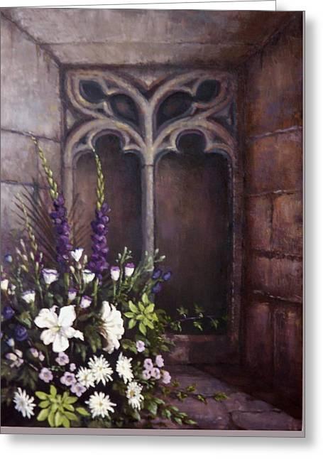Gothic Wedding Bouquet Greeting Card by Sean Conlon