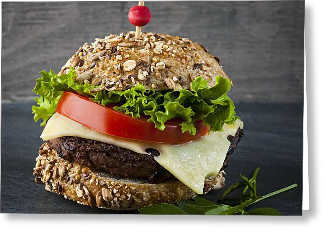 Bun Photographs Greeting Cards - Gourmet hamburger Greeting Card by Elena Elisseeva
