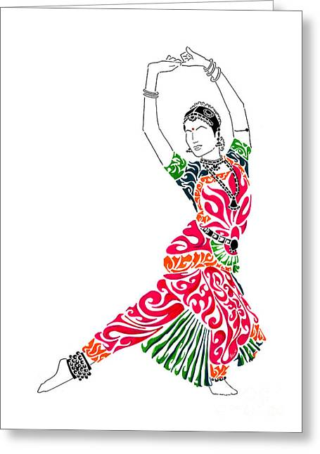 Pen And Ink Drawing Greeting Cards - Grace Greeting Card by Anushree Santhosh