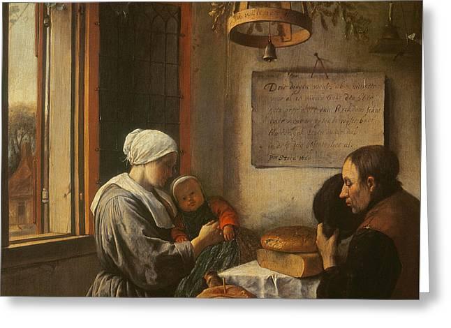 Grace Before Meat Greeting Card by Jan Havicksz Steen