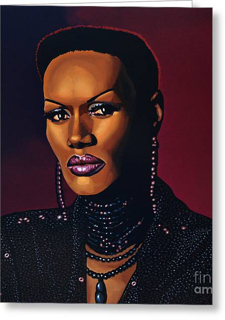 Grace Jones Greeting Card by Paul Meijering