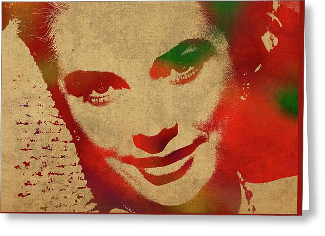 Grace Kelly Watercolor Portrait Greeting Card by Design Turnpike