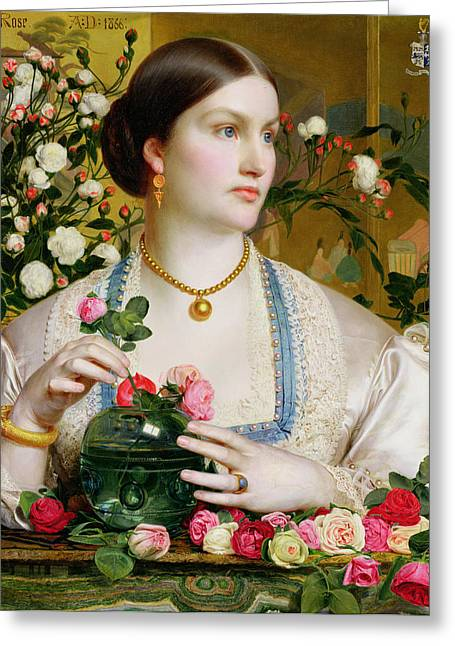 Gold Necklace. Greeting Cards - Grace Rose Greeting Card by Anthony Frederick Augustus Sandys