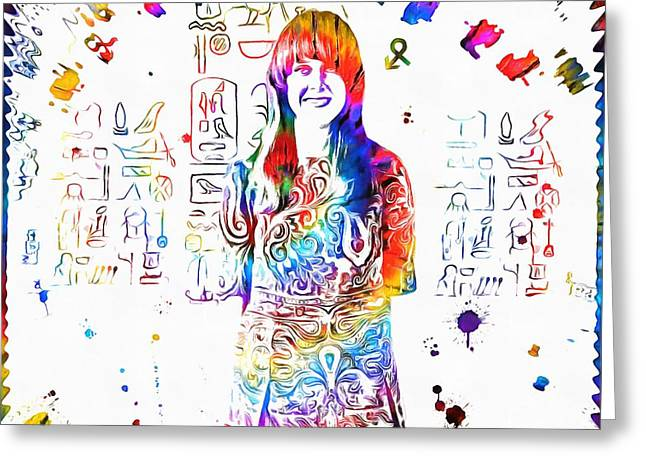 Jefferson Mixed Media Greeting Cards - Grace Slick Jefferson Airplane Paint Splatter Greeting Card by Dan Sproul