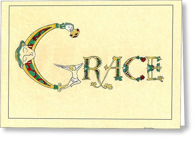 Love Letter Drawings Greeting Cards - Grace Greeting Card by Tina Guide