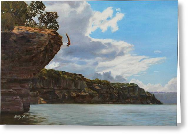 Graceful Cliff Dive Greeting Card by Emily Olson
