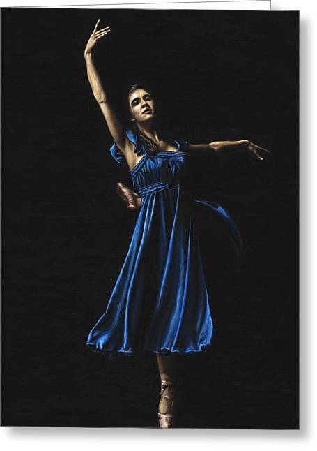 En Pointe Greeting Cards - Graceful Dancer in Blue Greeting Card by Richard Young