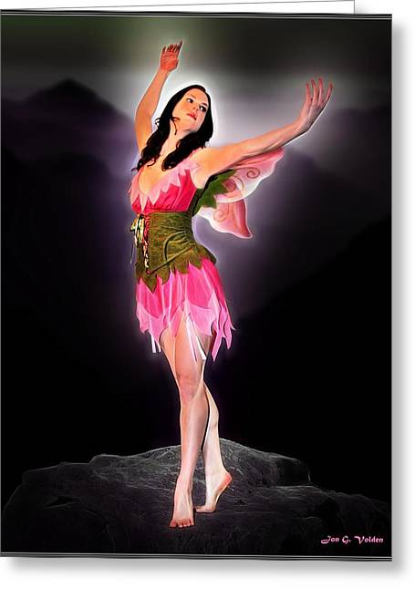 Art Book Greeting Cards - Graceful Fairy Greeting Card by Jon Volden