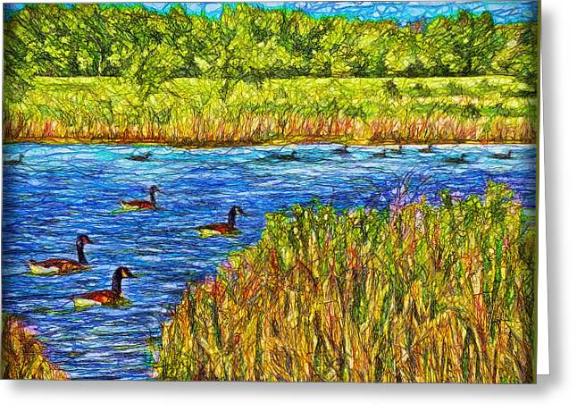 Water Fowl Mixed Media Greeting Cards - Geese Of The Pond - Colorado Lake Greeting Card by Joel Bruce Wallach