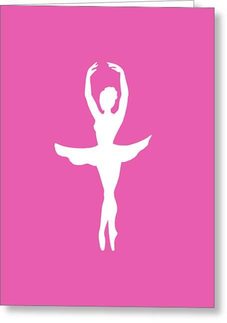 Graceful Silhouette Of Dancing Ballerina Greeting Card by Irina Sztukowski