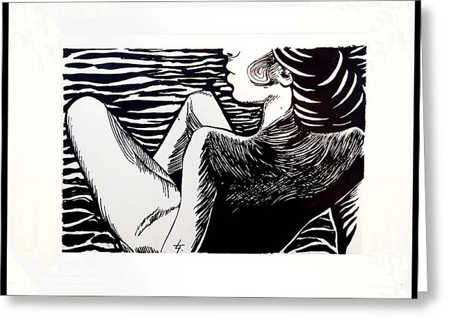Linocut Paintings Greeting Cards - Lady Totems. Gracefulness.  Greeting Card by Lina Tumarkina