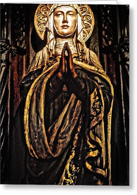 Angelical Digital Greeting Cards - Gracious Virgin Mary Greeting Card by Joan Reese