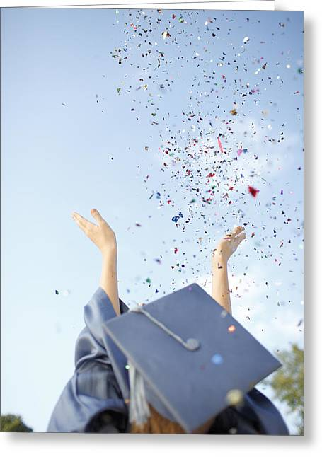Milestone Greeting Cards - Graduate Tossing Confetti Seen Greeting Card by Gillham Studios
