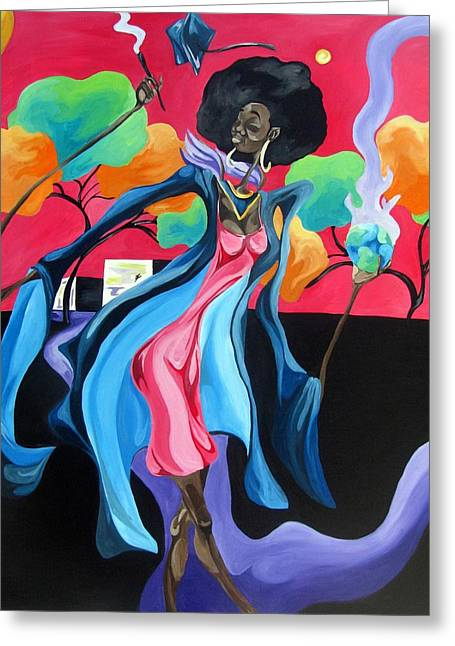African-americans Greeting Cards - Graduated with Hiii Honors Greeting Card by JaFleu Fleurant